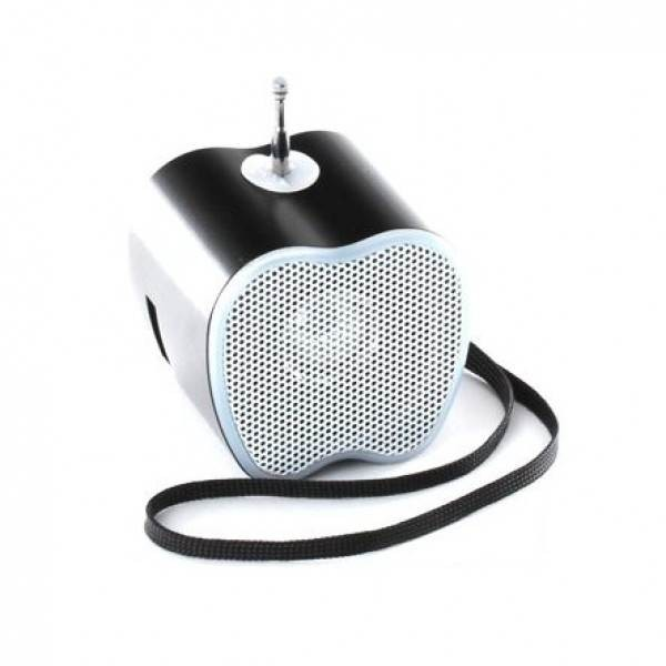 Φορητό ηχείο σε σχήμα μήλου με δυνατότητα αναπαραγωγής Mp3 μέσω USB ή SD κάρτας και ενσωματωμένο FM δέκτη - μαύρο