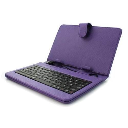 Αναδιπλούμενη θήκη και βάση για Tablet 7' με  Αγγλικό πληκτρολόγιο - Μωβ