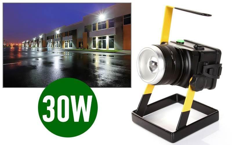 Eπαναφορτιζόμενoς φορητός LED προβολέας ζουμάρει 30W 2400lm PowerLine
