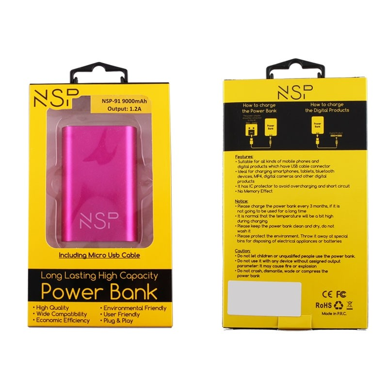 NSP-91 POWER BANK 9000mAh 1.2A + MICRO USB METAL PINK