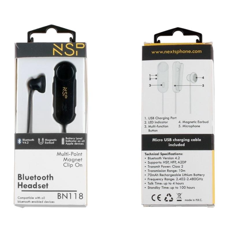 NSP BLUETOOTH BN118 MAGNET CLIP ON HEADSET V4.2 (2 ΣΥΣΚ) BLACK
