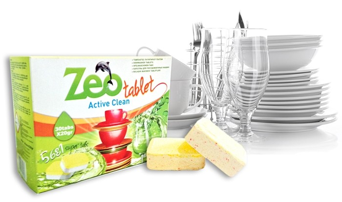 Zeo Tablet Active Clean - Απορρυπαντικό για πλυντήρια πιάτων 30 Ταμπλέτες
