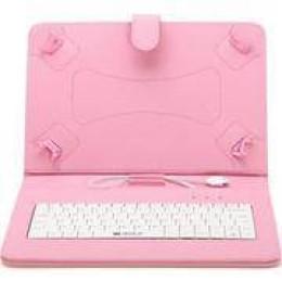Αναδιπλούμενη θήκη και βάση για Tablet 7' με Αγγλικό πληκτρολόγιο - Ροζ