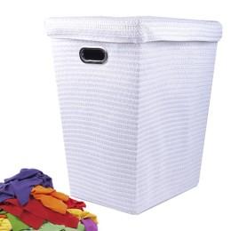 Καλάθι απλύτων με υφασμάτινη επένδυση 45x38x55cm - Λευκό