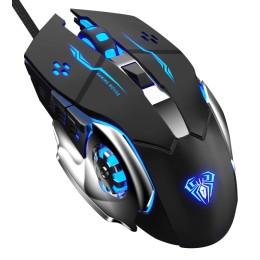 AULA ενσύρματο gaming ποντίκι Mountain S20, 2400DPI, 6 πλήκτρα, μαύρο