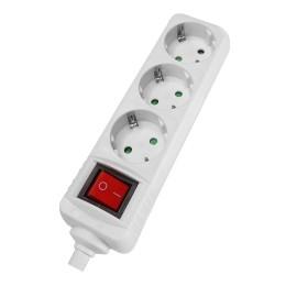 POWERTECH rewirable πολύπριζο PT-885, 3x schuko, 16A, λευκός με διακόπτη και παιδική προστασία