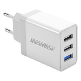 ROCKROSE φορτιστής τοίχου Casa Q3 3x USB QC 3.0 30W λευκός (RRTC01EU)