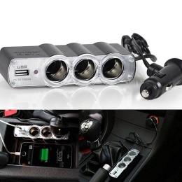 Πολύπριζο αναπτήρα αυτοκινήτου με 3 παροχές και 1 θύρα USB - ΟΕΜ 32116